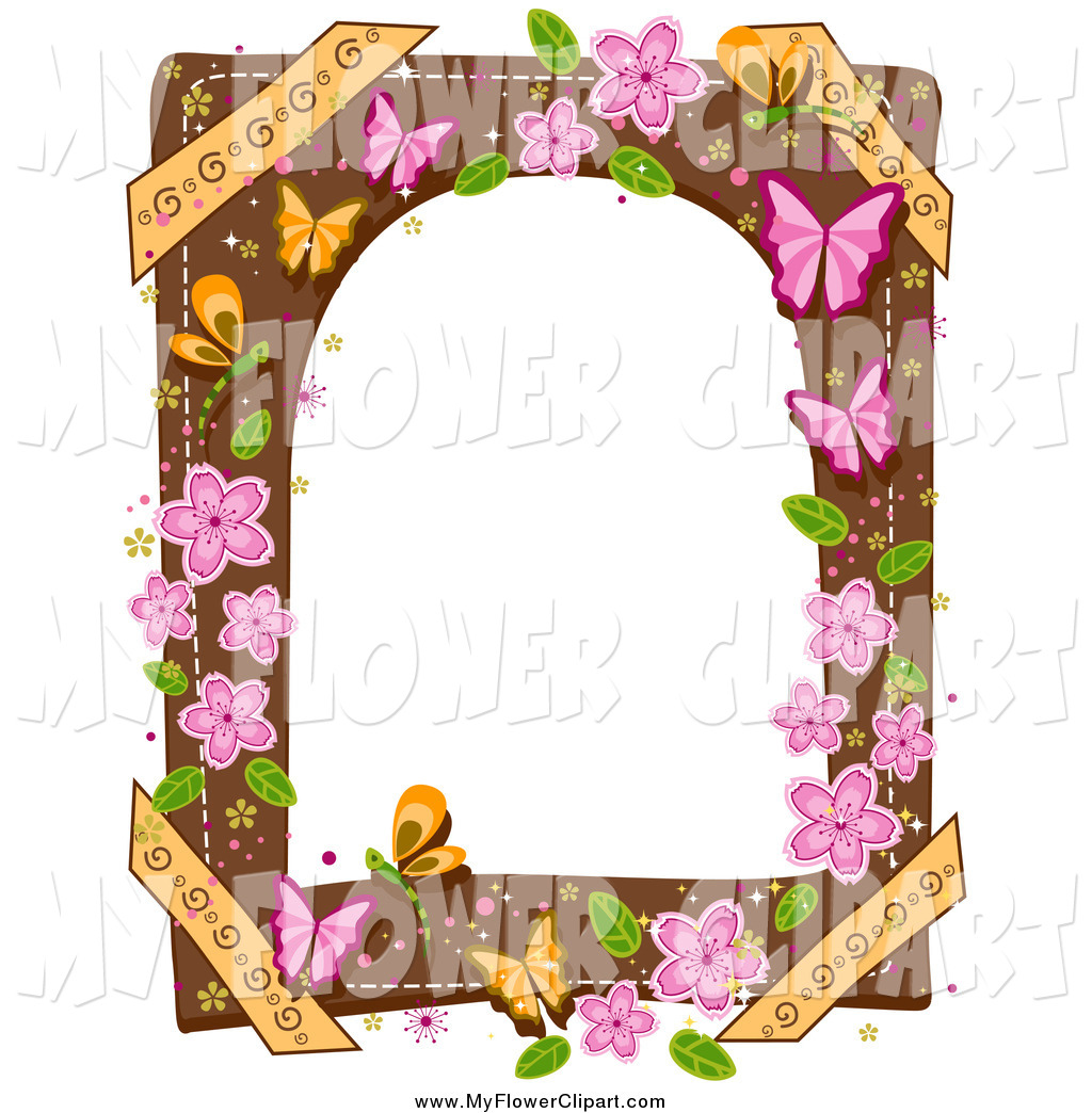 Clip Art of a Border with Butterflies and Pink Flowers by BNP.