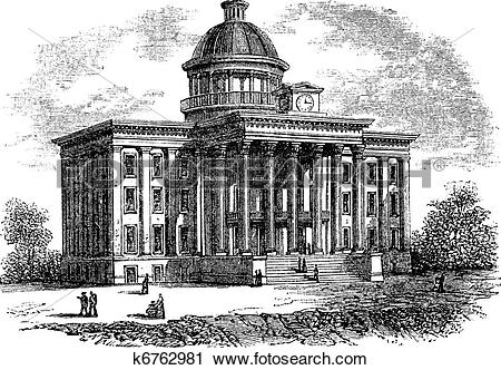 Clipart of Alabama State Capitol Building, United States, vintage.