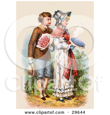 Clipart Illustration of a Vintage Victorian Scene Of A Boy.