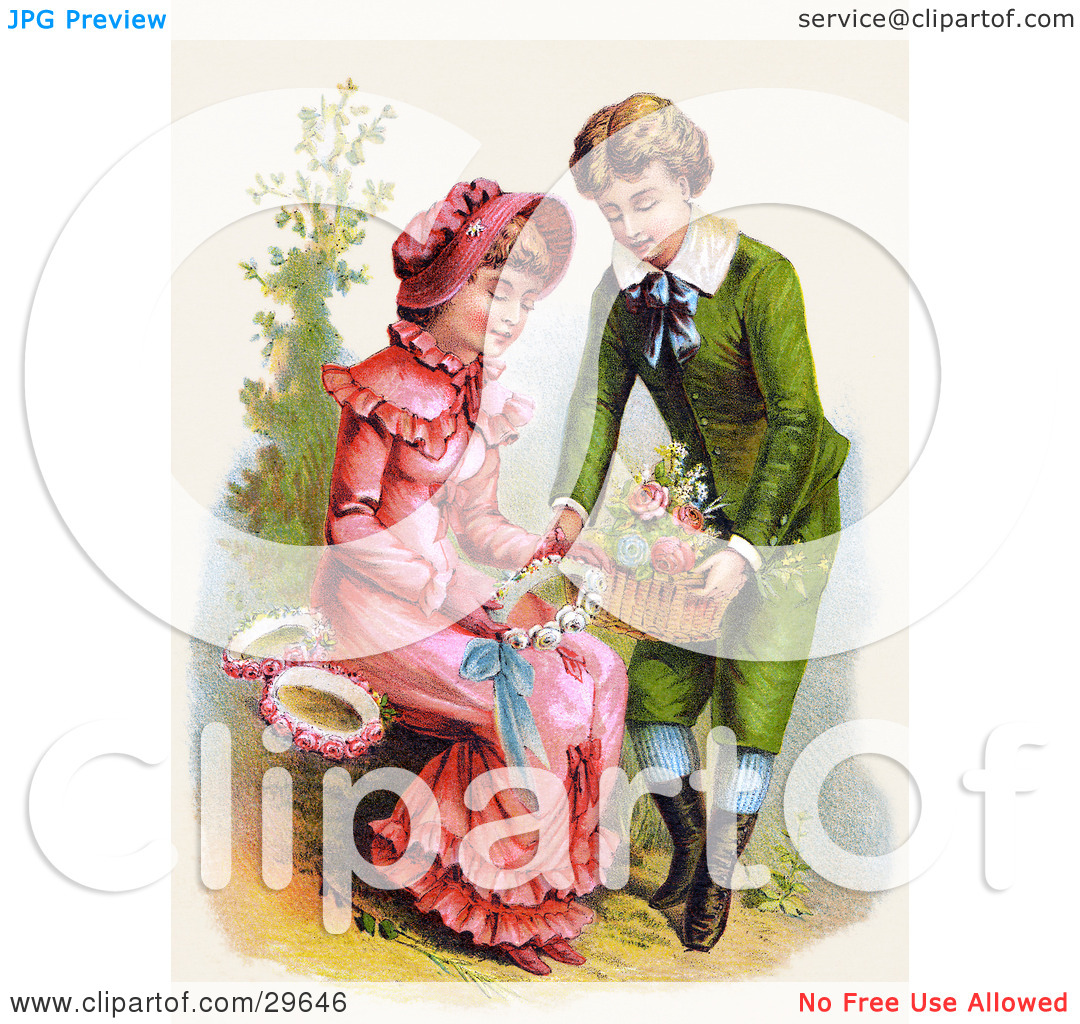 Clipart Illustration of a Vintage Victorian Scene Of A Sweet Young.