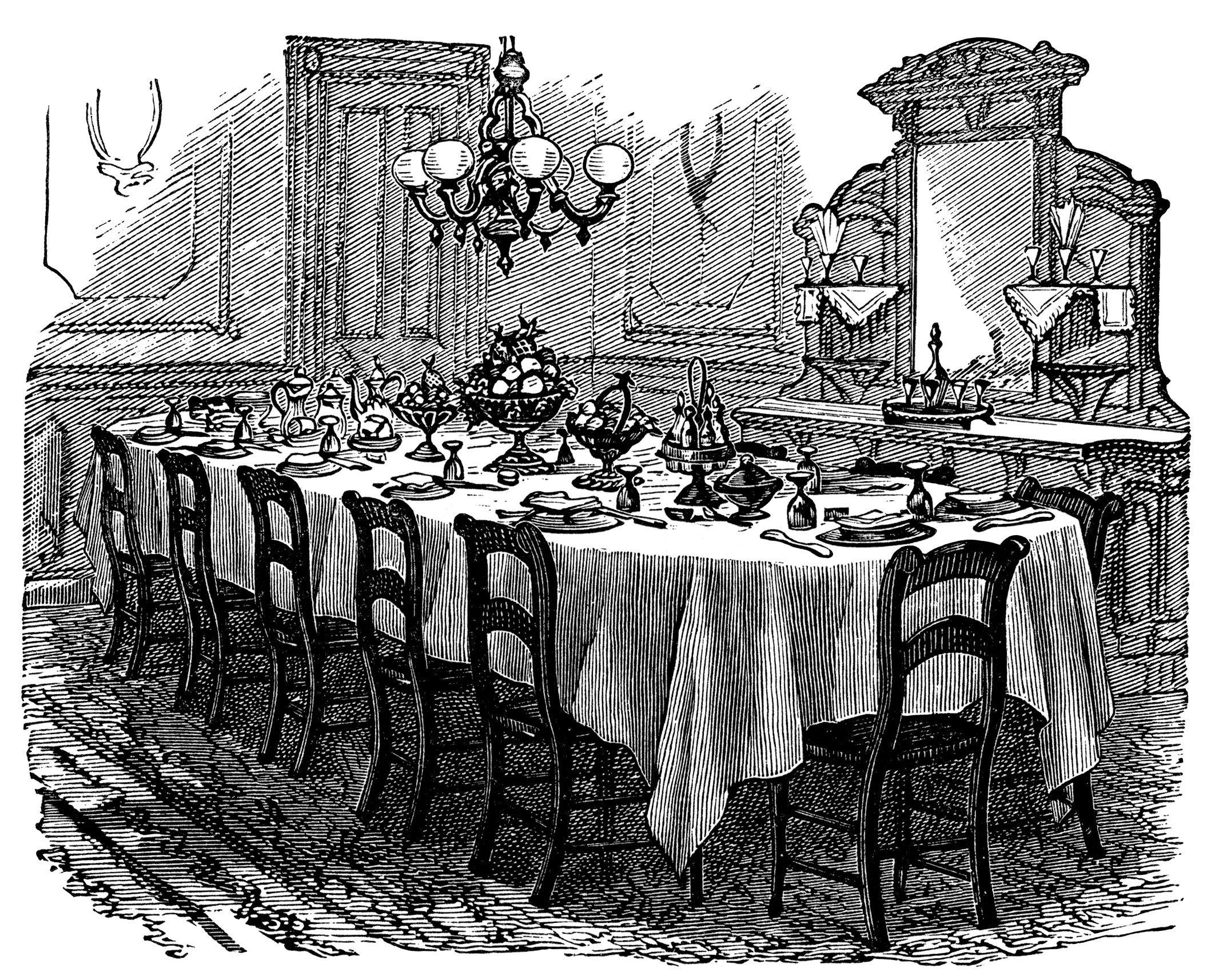 1886 vintage kitchen clip art, black and white graphics, Victorian.
