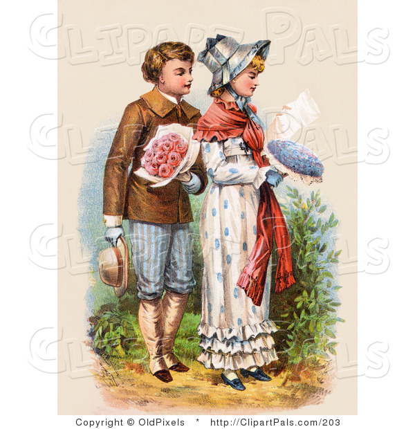Pal Clipart of a Vintage Victorian Scene of a Courting Boy.