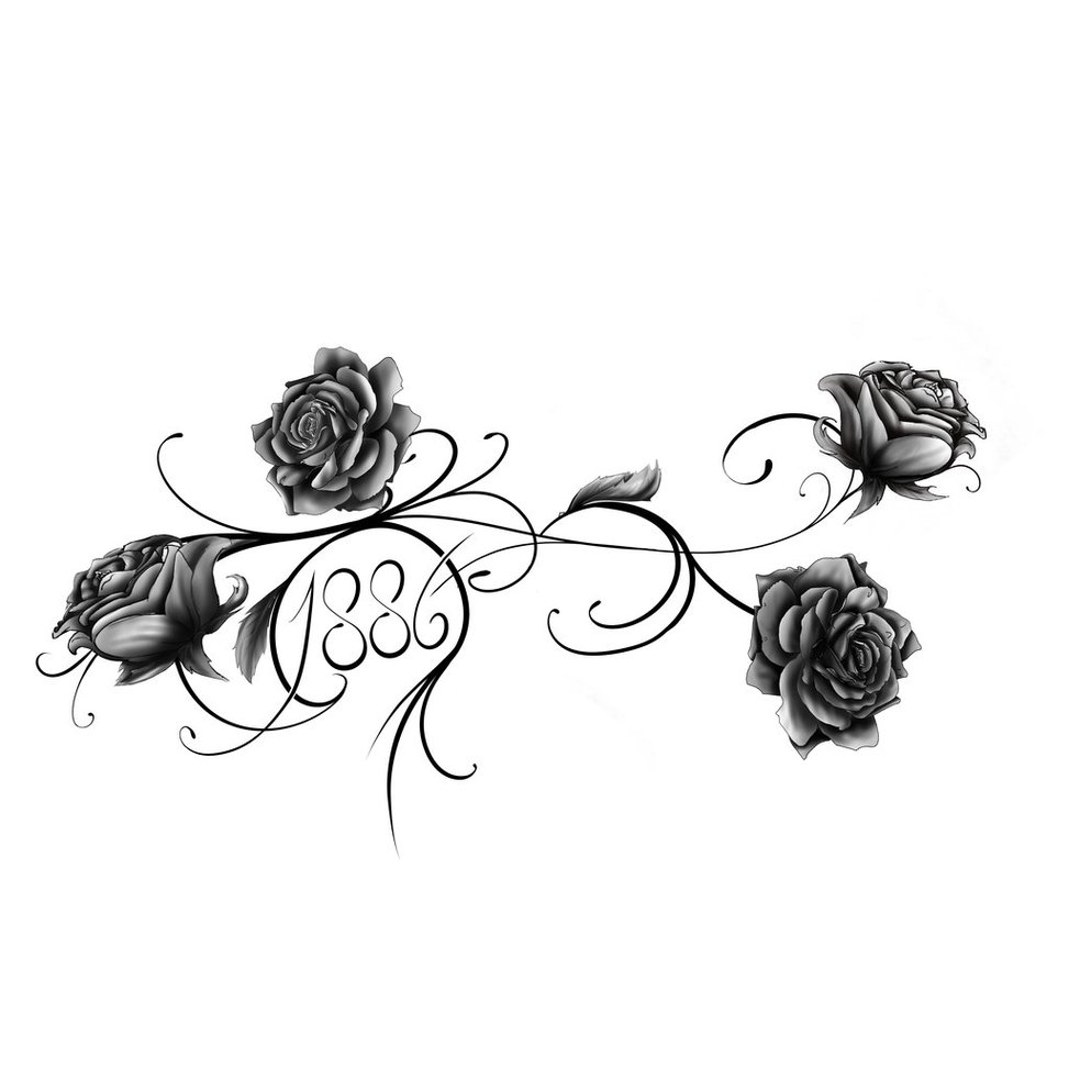 Tribal Rose 1886 Clipart.