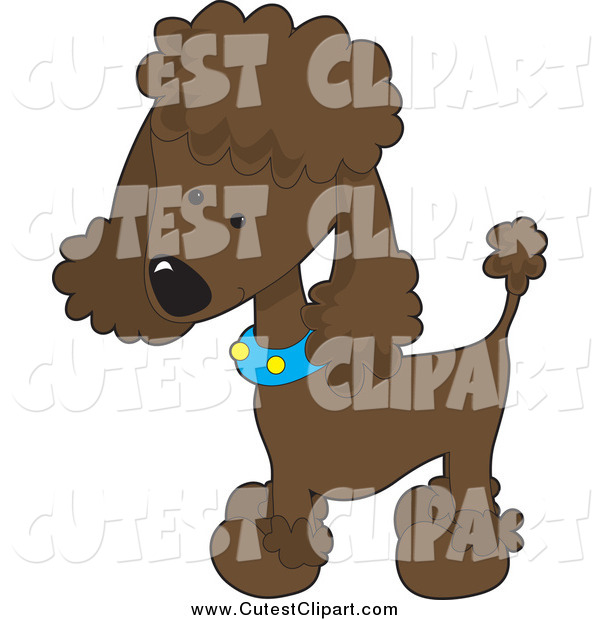 Vector Clip Art of a Cute Chocolate Poodle Puppy Dog by Maria Bell.