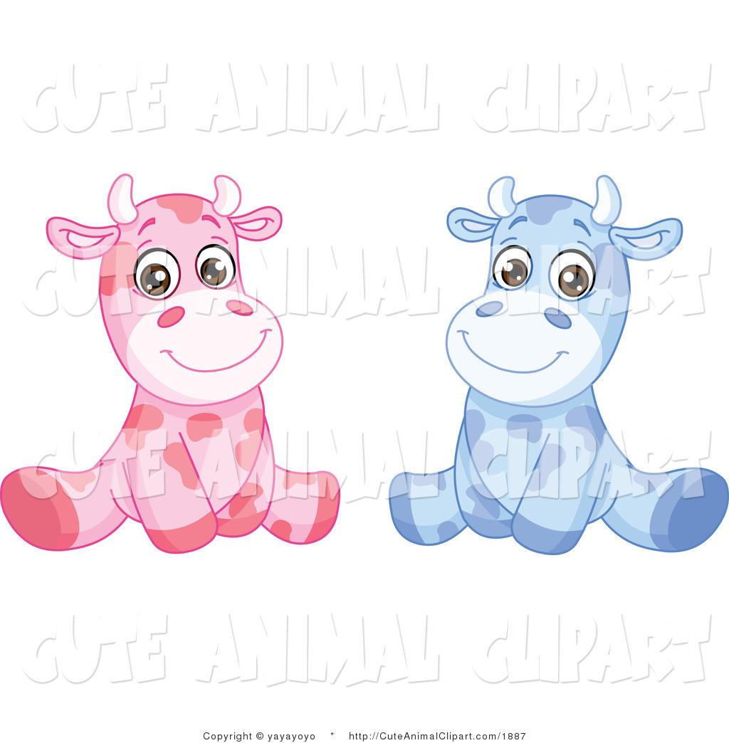 Clip Art of Pink and Blue Baby Cows Sitting by yayayoyo.