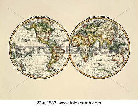 Stock Illustration of Antique World Map (hand.