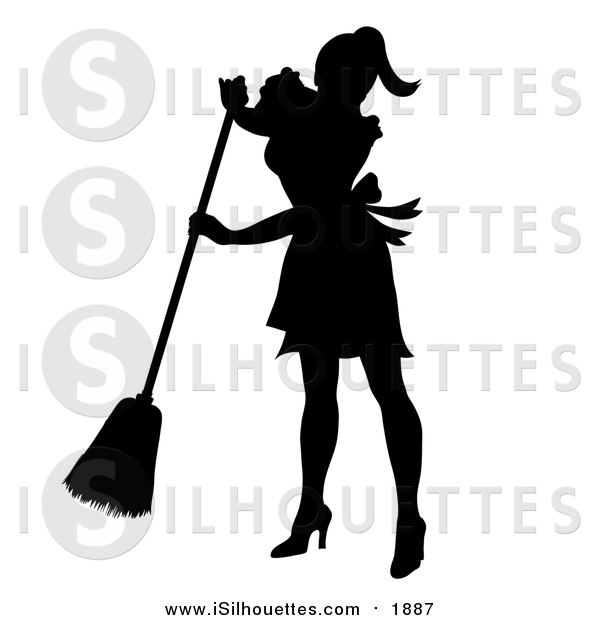 Clipart of a Black Silhouetted Maid Smiling and Sweeping by Pams.