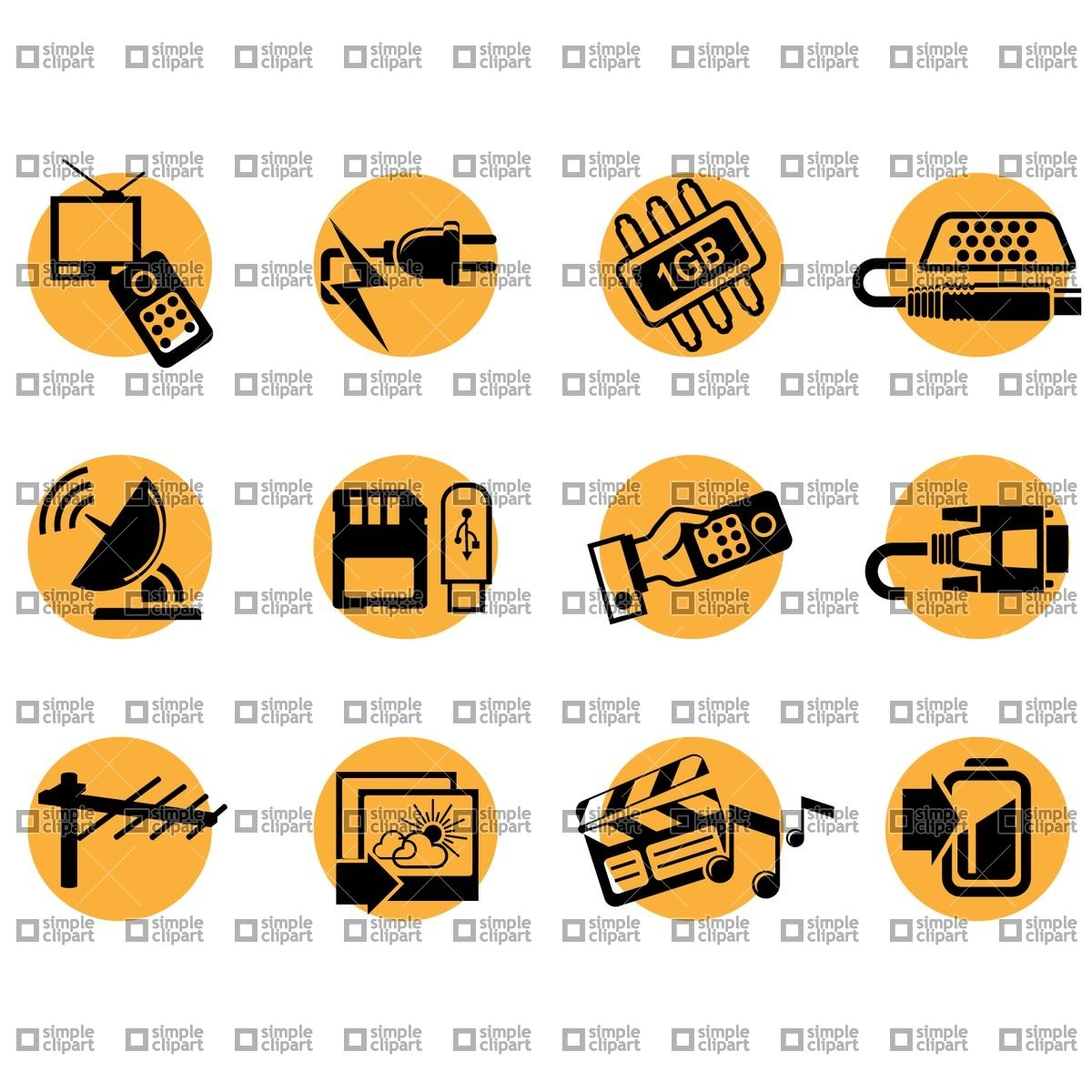 TV and home theater icons Vector Image #1887.