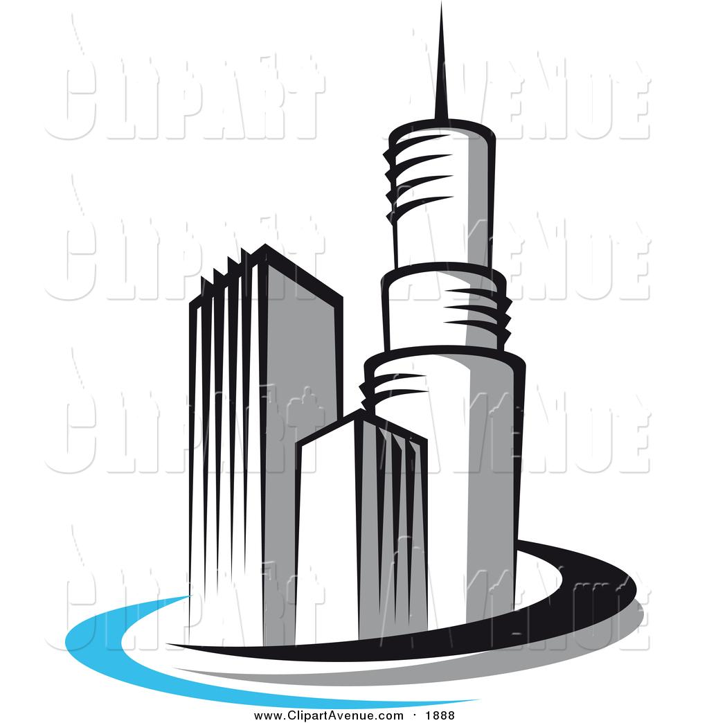 Avenue Clipart of a Skyscraper Logo: 3 Buildings by Vector.