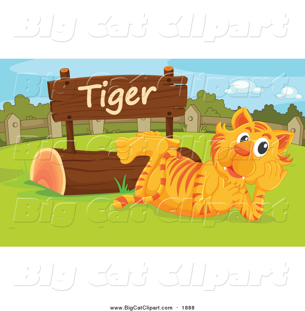 Big Cat Cartoon Vector Clipart of a Zoo Tiger Resting by a Sign by.