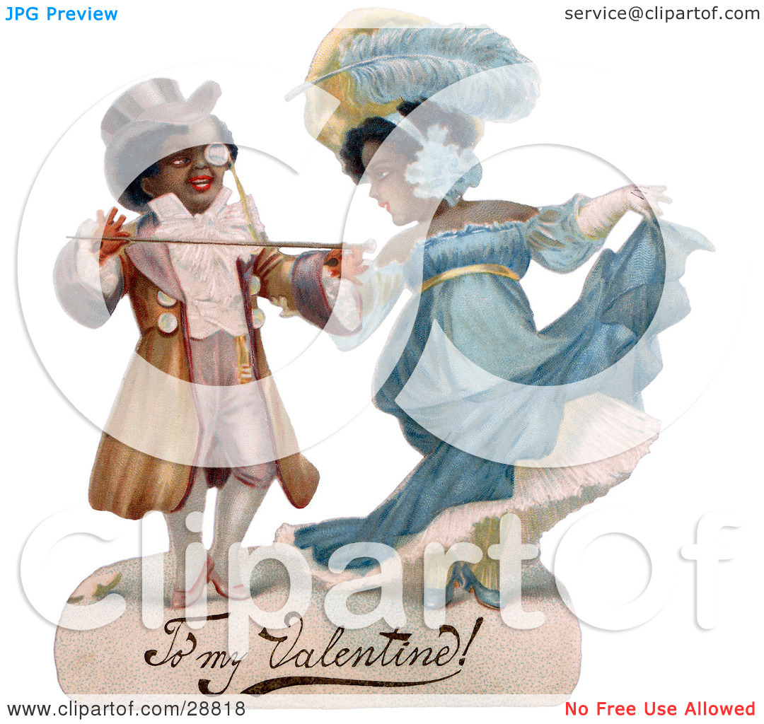 Clipart Picture of a Vintage Valentine Of A Romantic Black Couple.