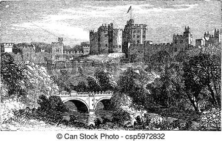 Vector Illustration of Alnwick Castle, in Alnwick, Northumberland.
