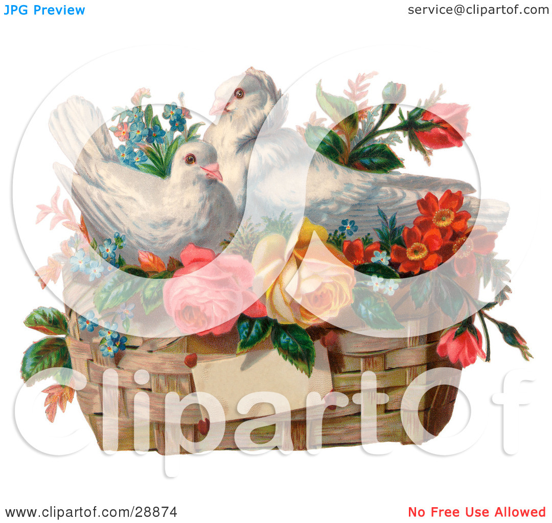 Clipart Picture of a Vintage Valentine Of Two White Doves Nesting.