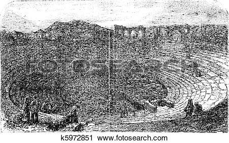 Clipart of Verona Arena in 1890, in Verona, Italy. Vintage.