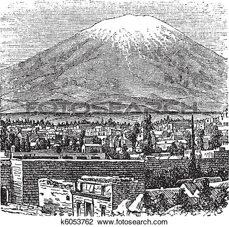 Clipart of Arequipa and the Misti volcano old engraving, in 1890.