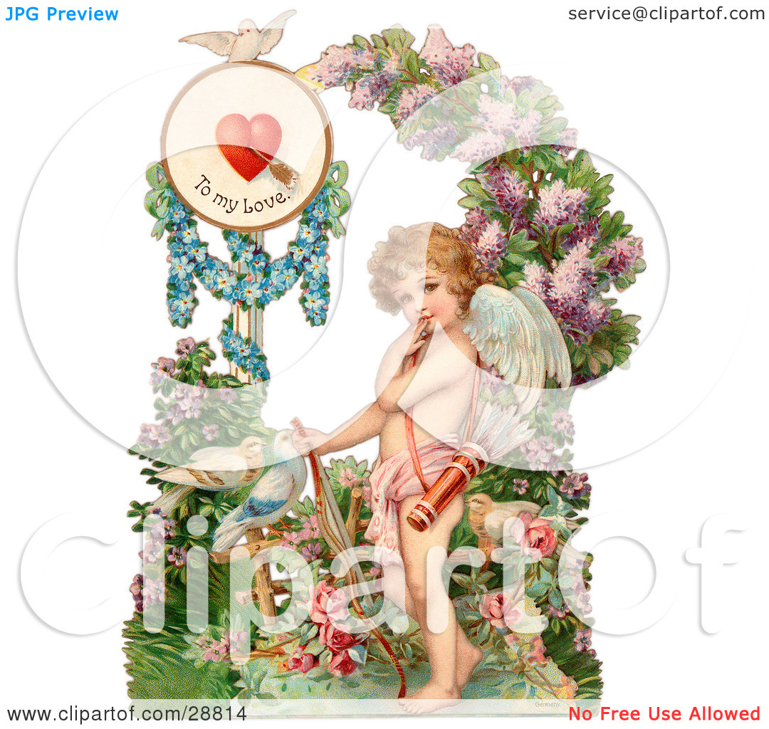 Clipart Picture of a Vintage Valentine Of Cupid Resting His Bow On.