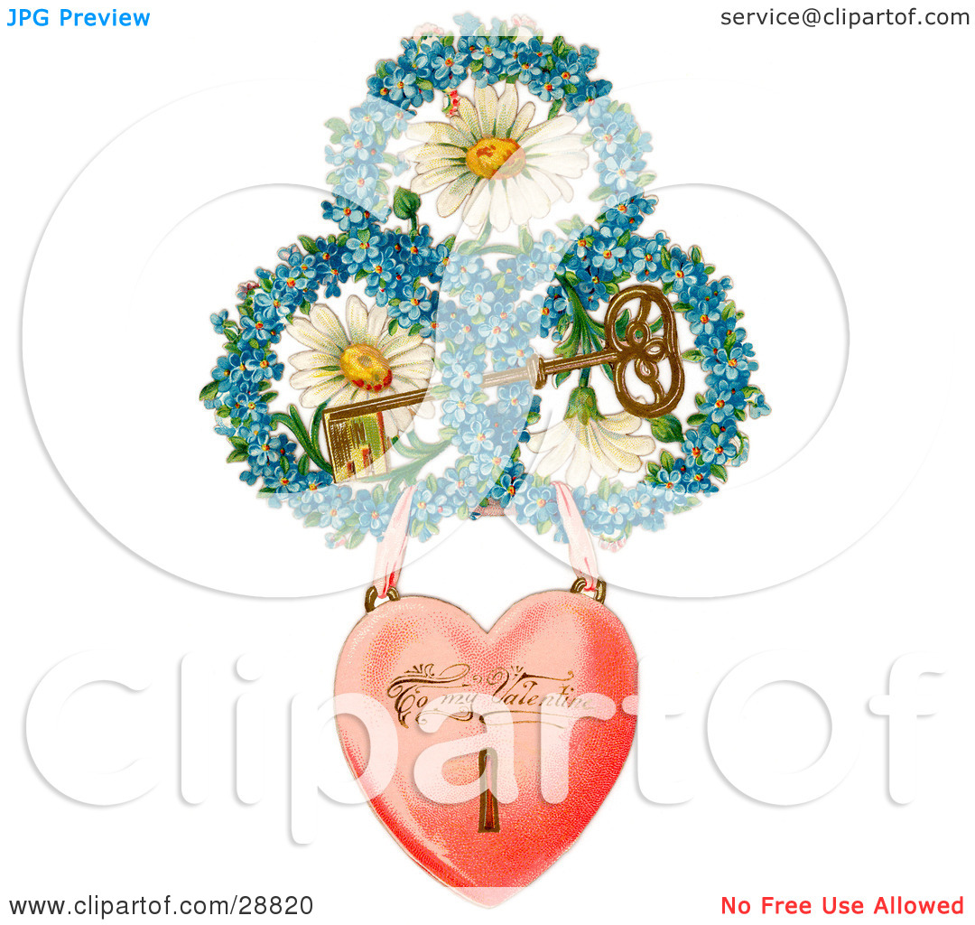 Clipart Picture of a Vintage Valentine Of A Heart Locket Suspended.