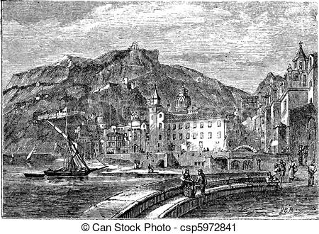 Vector Clip Art of Amalfi in 1890, in the province of Salemo.