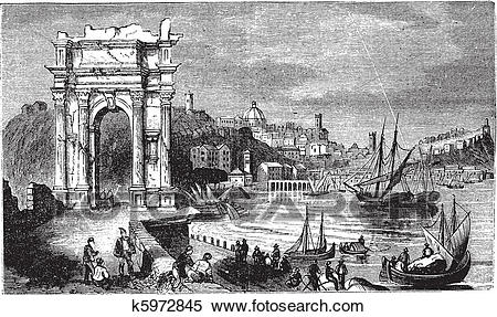 Clipart of Ancona and the Arches of Trajan, Italy. Scene from 1890.