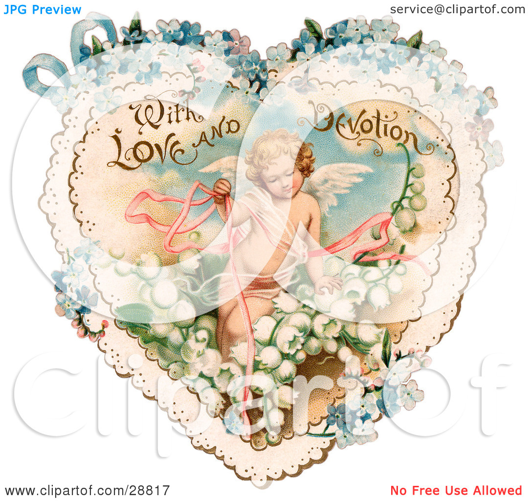 Clipart Picture of a Vintage Valentine Of Cupid With Ribbons.