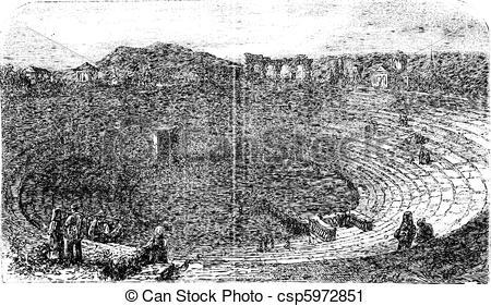 Vector Clip Art of Verona Arena in 1890, in Verona, Italy. Vintage.
