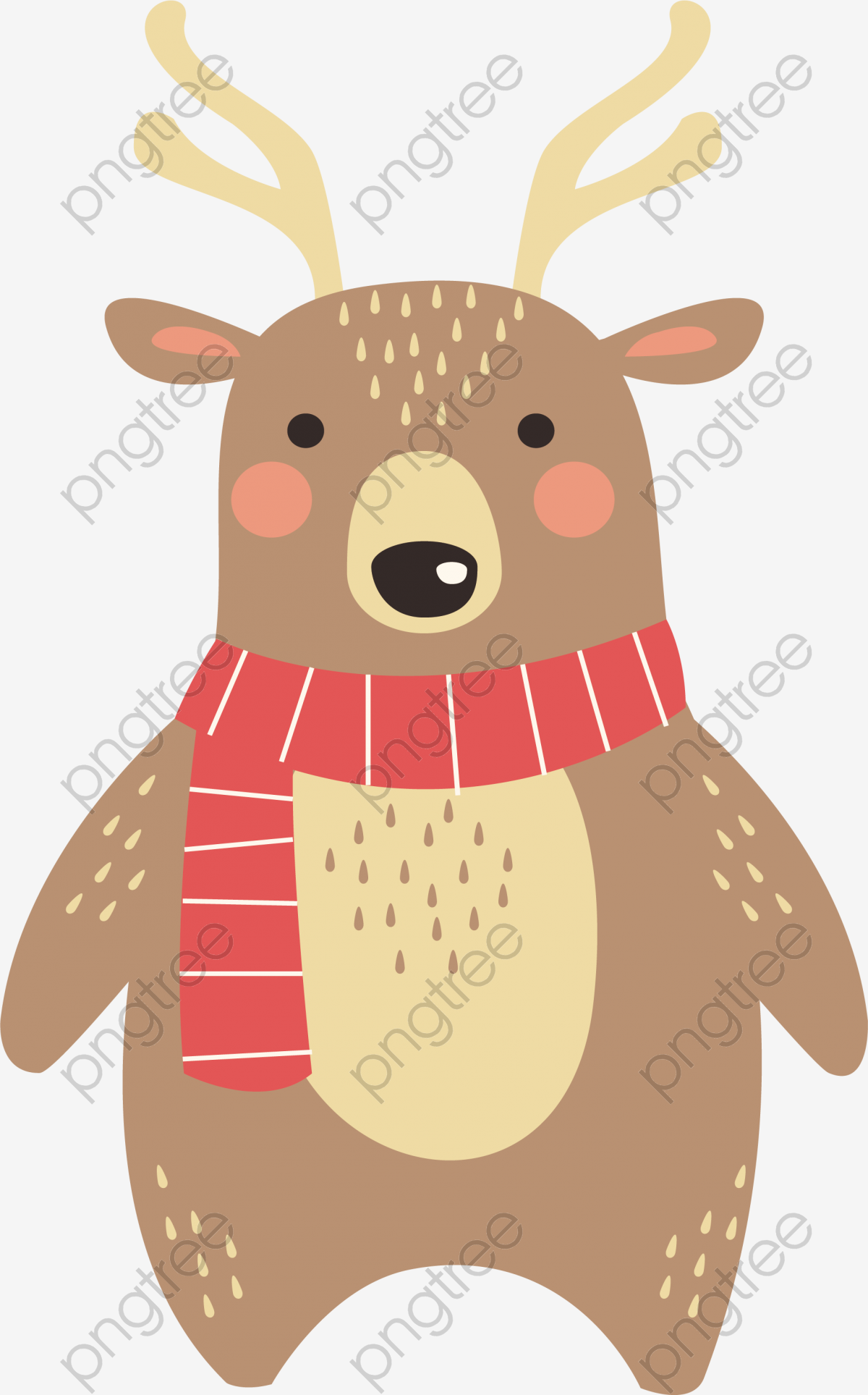 Transparent reindeer with scarves PNG Format Image With Size 1893.
