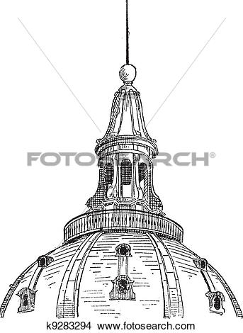 Clipart of Lantern of the dome of the Sorbonne in Paris, vintage.