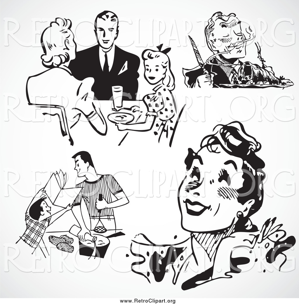 Clipart of Black and White Retro People and Food by BestVector.