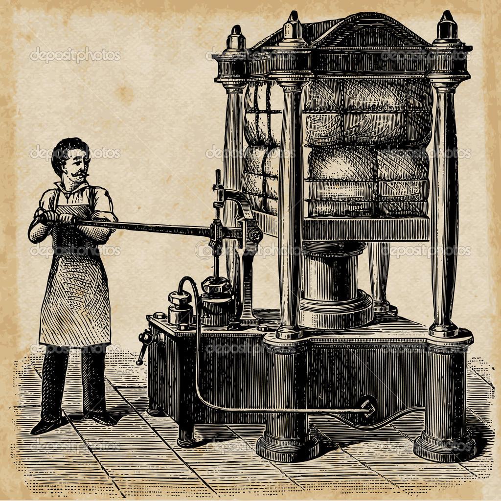 Hydraulic press skatch from 1895. — Stock Vector © Darkves #6061268.