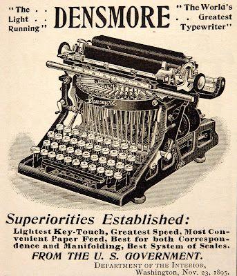 """1896 ad: Densmore """"World's Greatest Typewriter""""."""