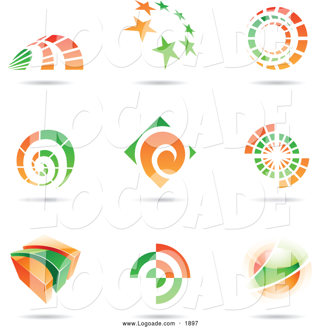 Clipart of Orange and Green Floating Logos by cidepix.
