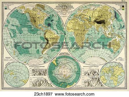 Stock Illustration of Antique World Map (chromolithograph)., 1897.