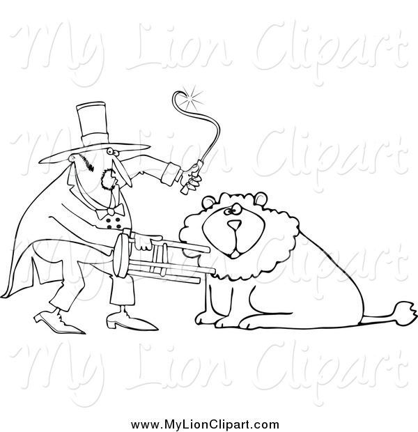 Clipart of a Black and White Circus Lion Tamer Holding a Stool and.