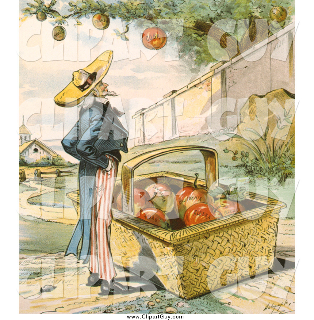 Clip Art of Uncle Sam Waiting for Apples Fall in His Basket by.