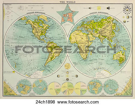 Stock Illustration of Antique World Map (chromolithograph)., 1898.