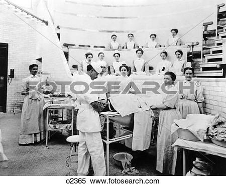 Stock Image of 1899 Operation In Saint Luke'S Hospital Nyc Usa.
