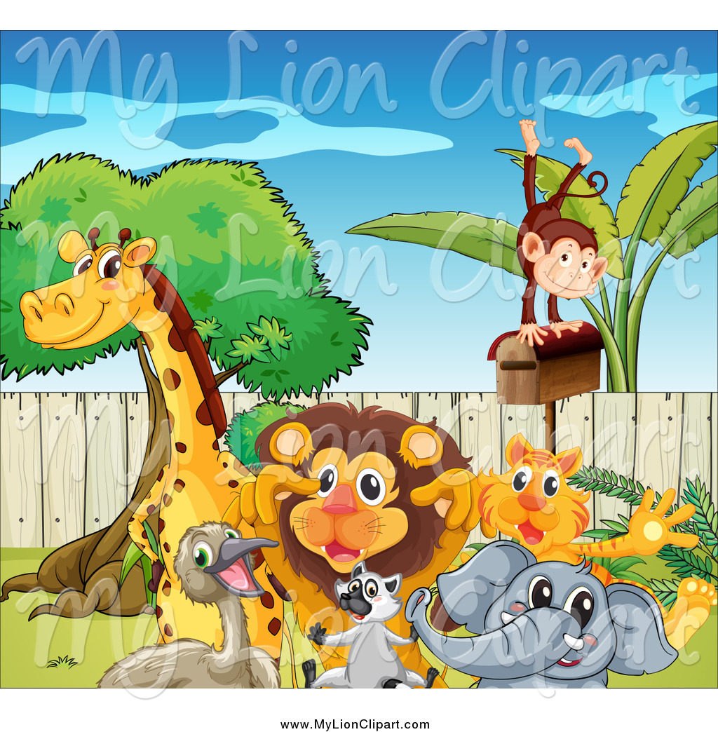 Clipart of a Group of Happy Zoo Animals by colematt.