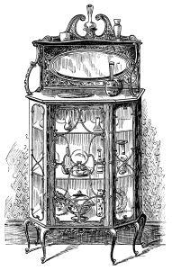 1899 Victorian furniture illustration, black and white graphics.