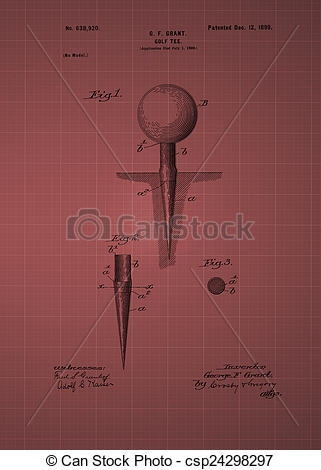 Stock Illustration of Golf Tee Patent 1899, Vintage patent artwork.