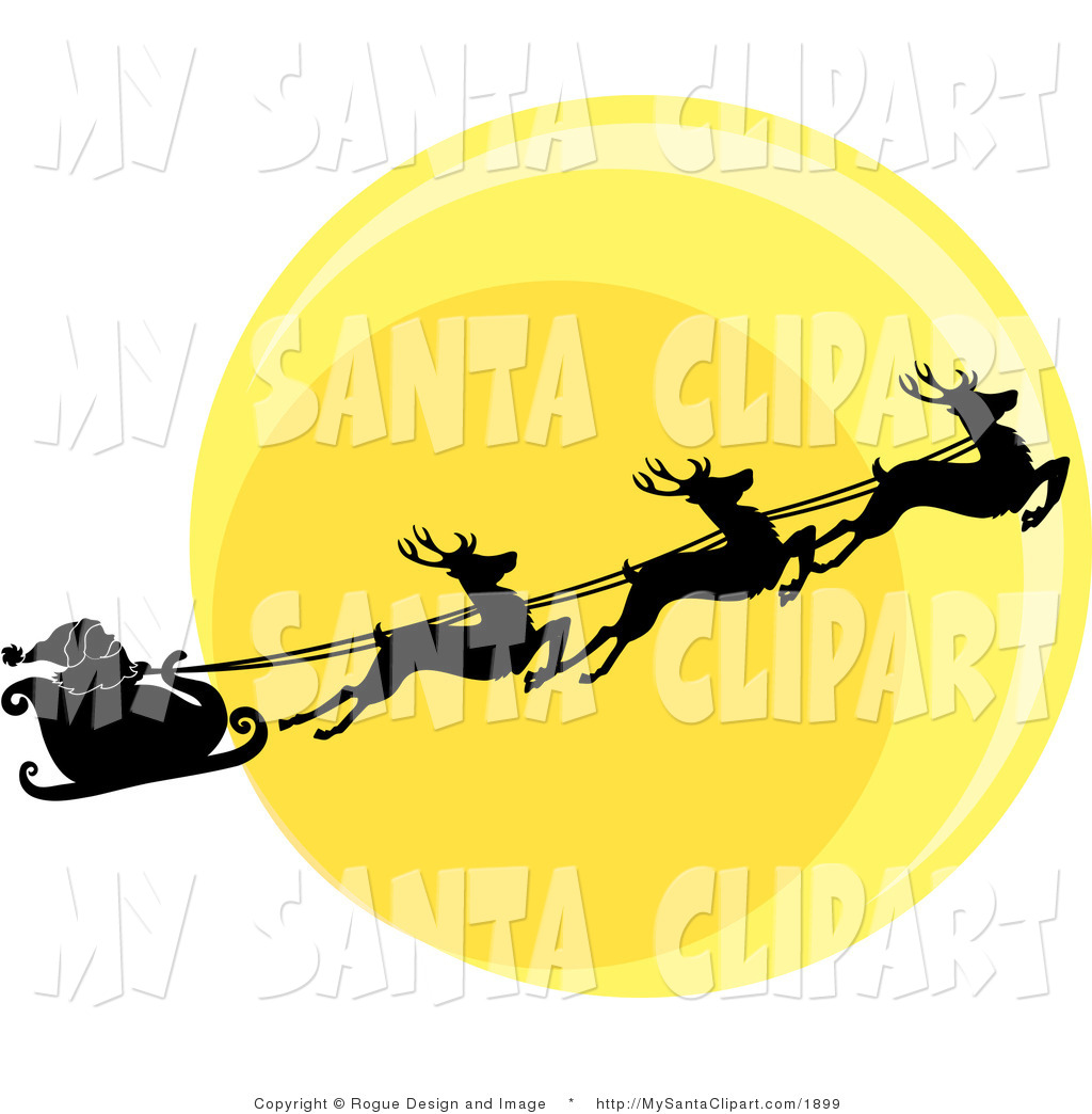 Vector Christmas Clip Art of Santa and Reindeer Flying in Front of.