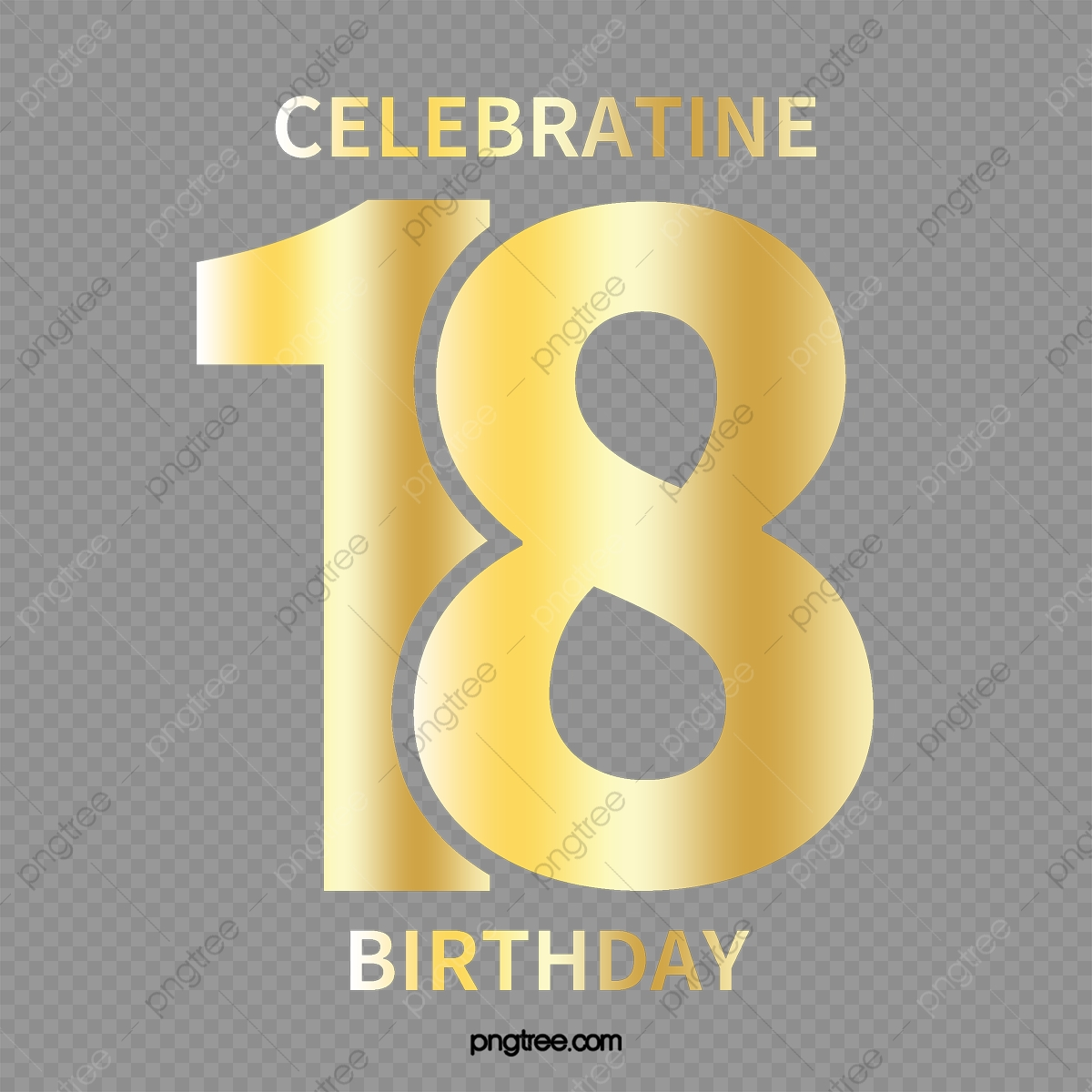 Gold 18th Birthday Happy, Birthday Clipart, Vector Material, Adult.