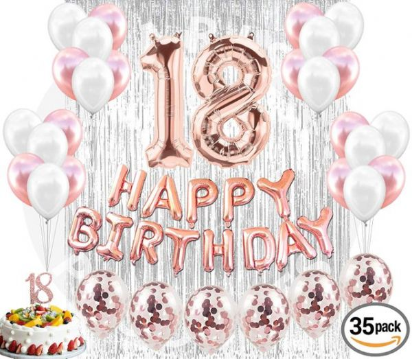 18th Birthday Decorations Birthday Party Supplies 18 Cake Topper Banner  Confetti Balloons for her Silver Curtain Backdrop Props Photos bday.