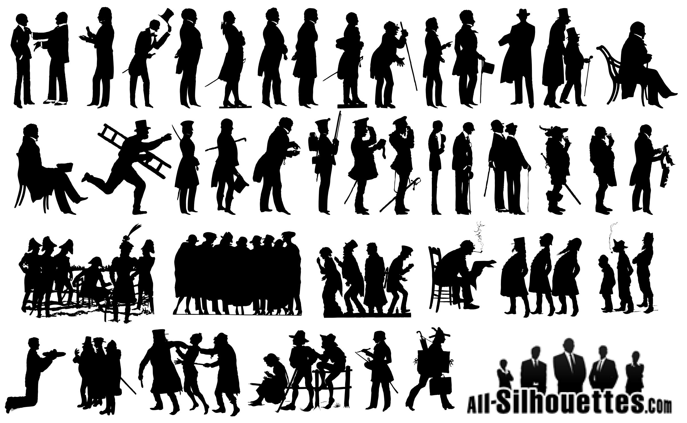 18th Century Man Silhouettes Vector EPS Free Download, Logo, Icons.