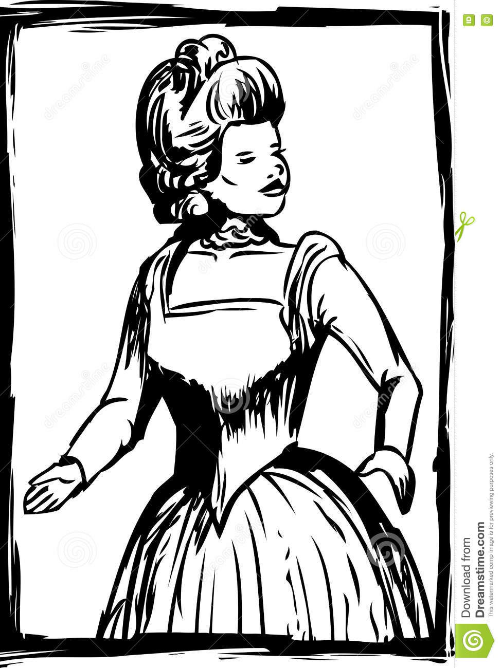 Outline Of Woman In 18th Century Dress Stock Illustration.