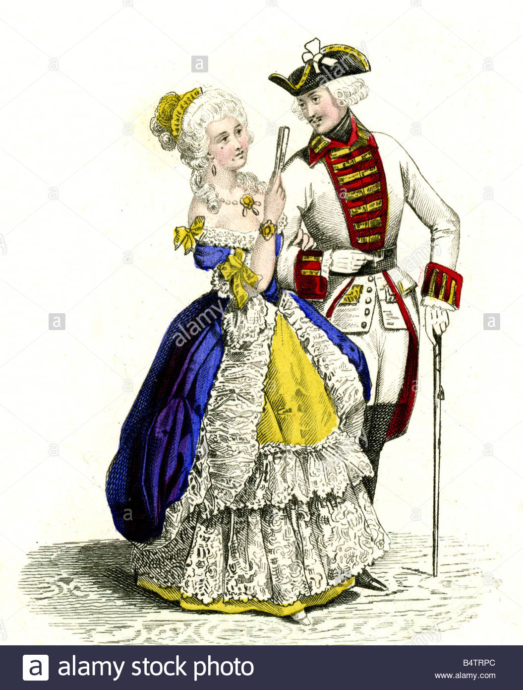 Fashion, 18th Century, France, Ladies Fashion, Lady And Soldier.