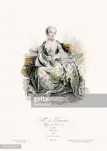 18th Century Fashion Madame DE Pompadour stock vectors.