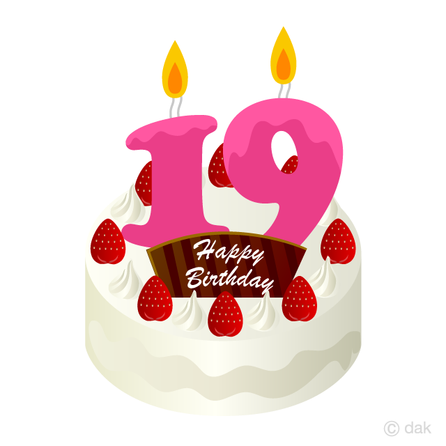 Free 19 Years Old Candle Birthday Cake Clipart Image|Illustoon.