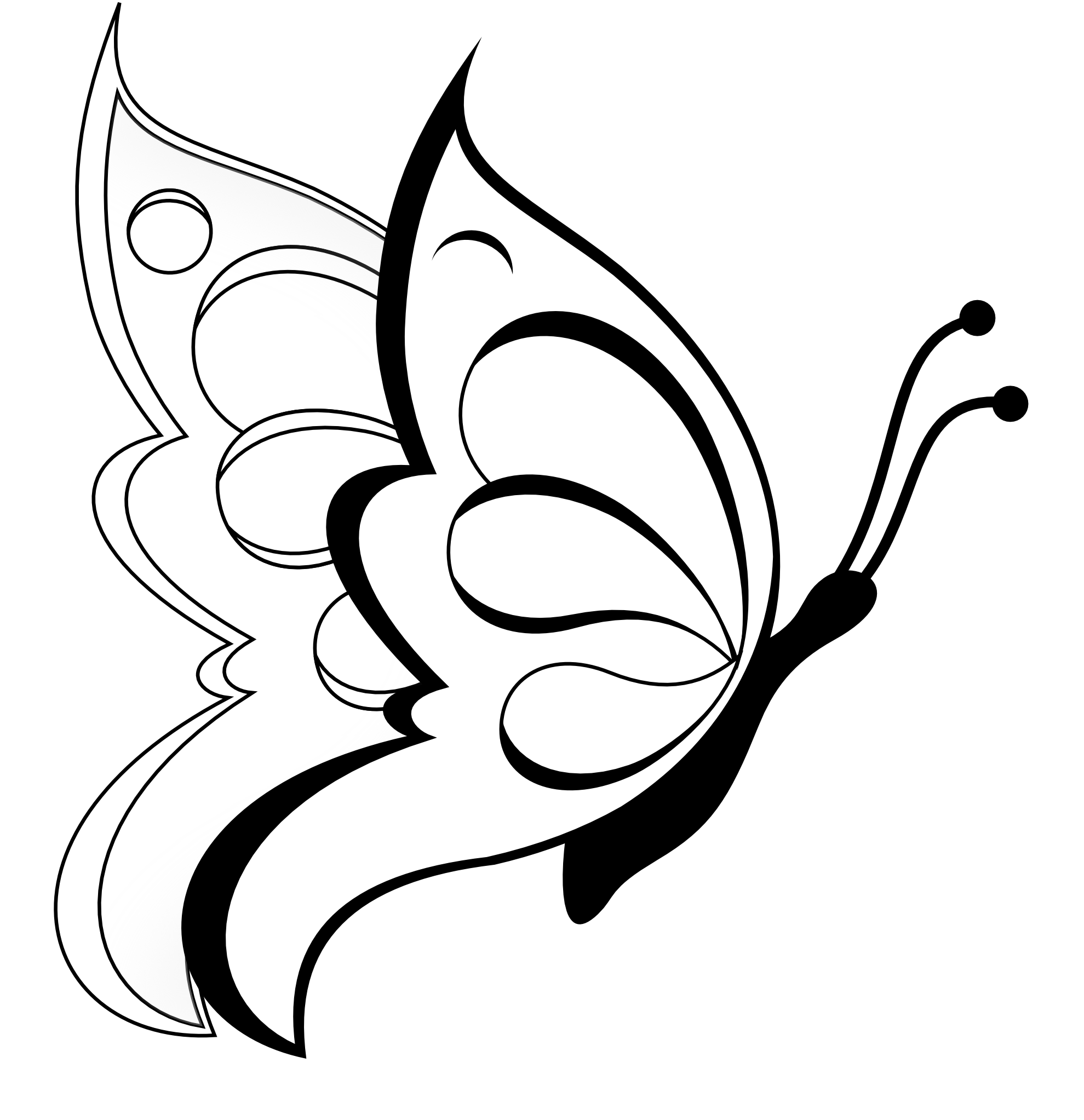 butterfly clipart Butterfly 19 Black White Line Art Coloring.