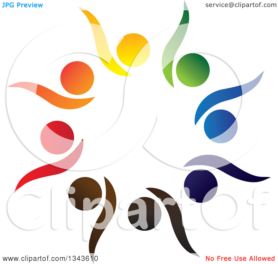 clipart of a teamwork unity circle of colorful people cheering or dancing 19 royalty free vector