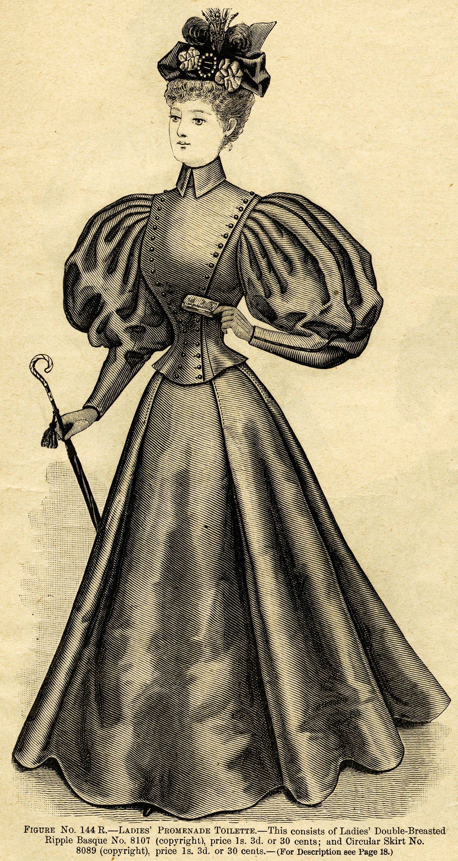Victorian lady clip art, ladies promenade toilette, black.